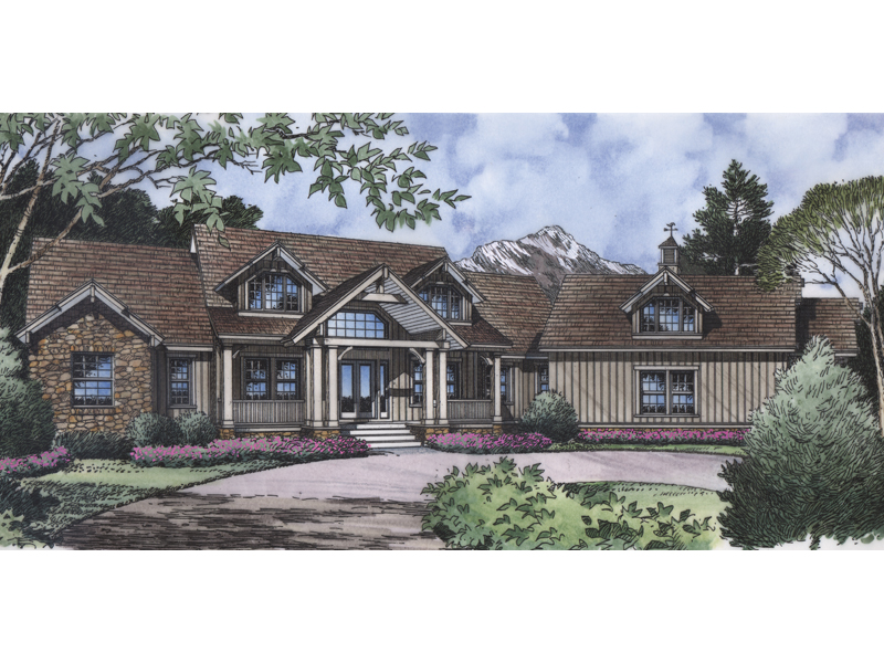 Sprawling Craftsman Style House With Stone And Siding Combination
