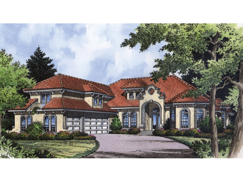 Mediterranean Style Two-Story Has Unique Entry Decoration And Clay Tile Roof