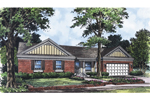 Brick Ranch Home Plan With Feature Double Gables