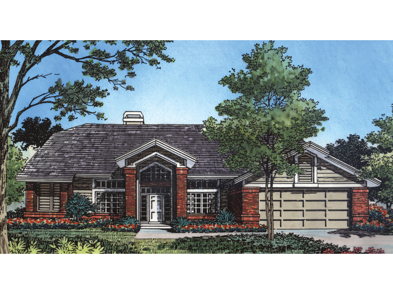 Ranch House Plan Front of Home - 047D-0109 | House Plans and More