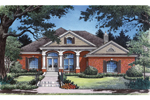 Arched Columns Mimic Arched Front Windows Of This Ranch