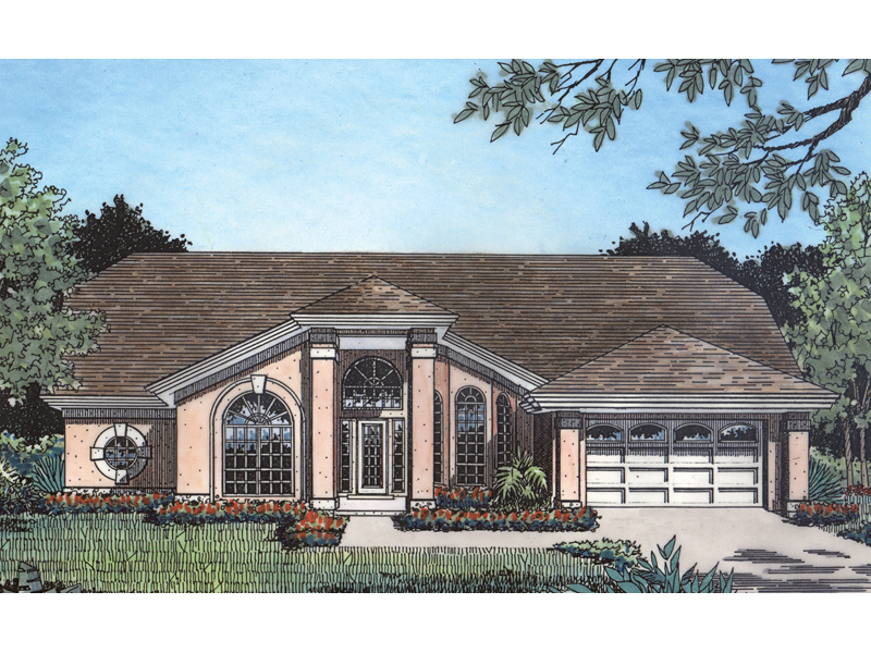Sunbelt Stucco Home With Unique Front Entry As Focal Point