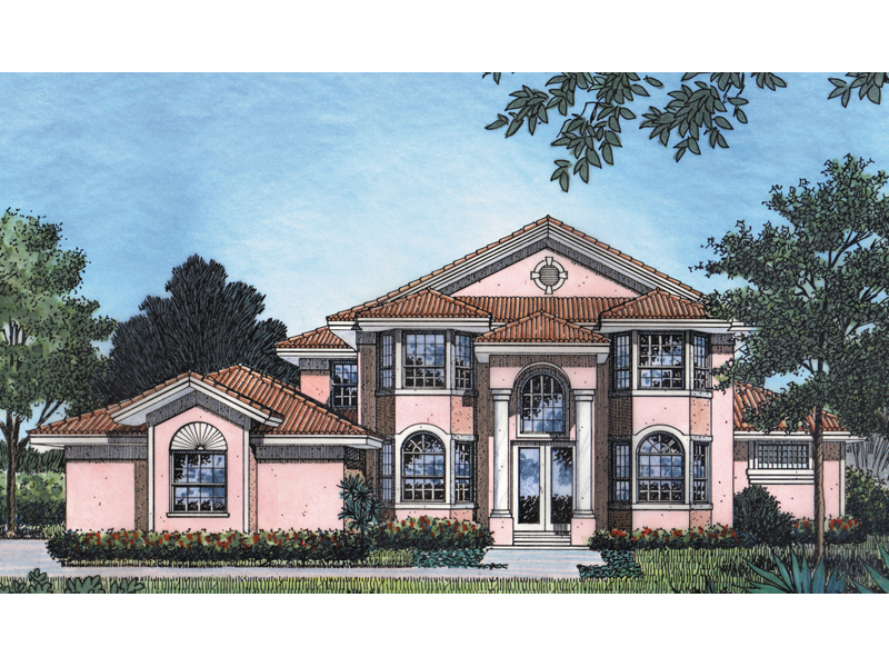 Two-Story Stucco Home Is Perfect For Florida Or Warm Climates