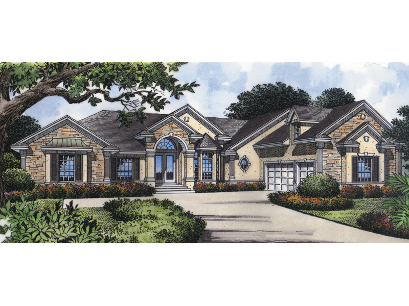 Ranch House Plan Front of Home 047D-0151