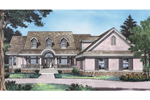 Stylish Two-Story Country Home Has Semicircular Front Entry Porch