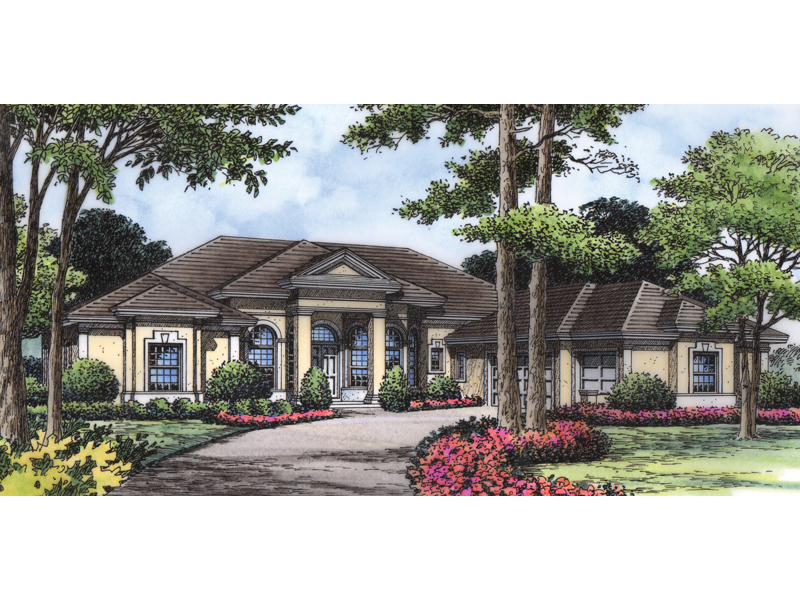Luxurious Sunbelt Style Has Stucco Exterior And Sleek Modern Roof Line