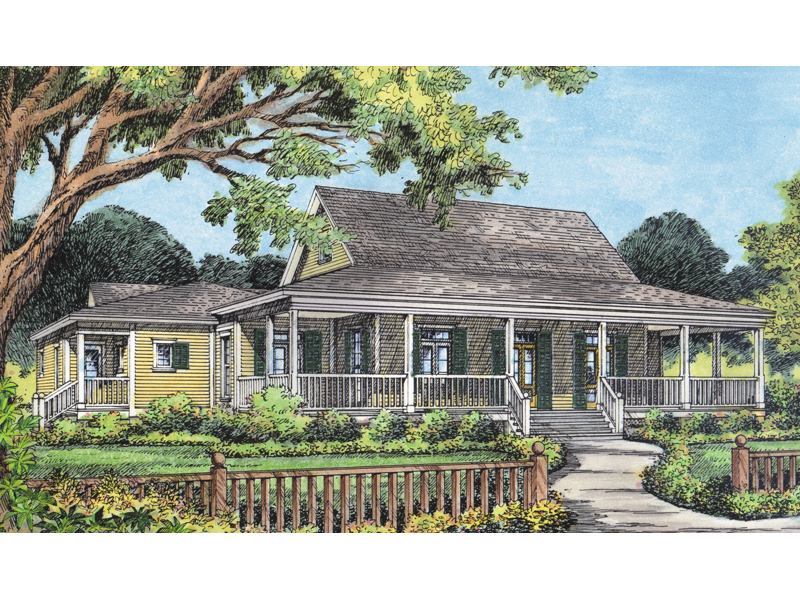 Country Acadian Home Design With Wrap-Around Porch