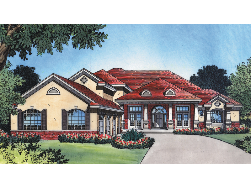 Southwestern House Plan Front of Home 047D-0173