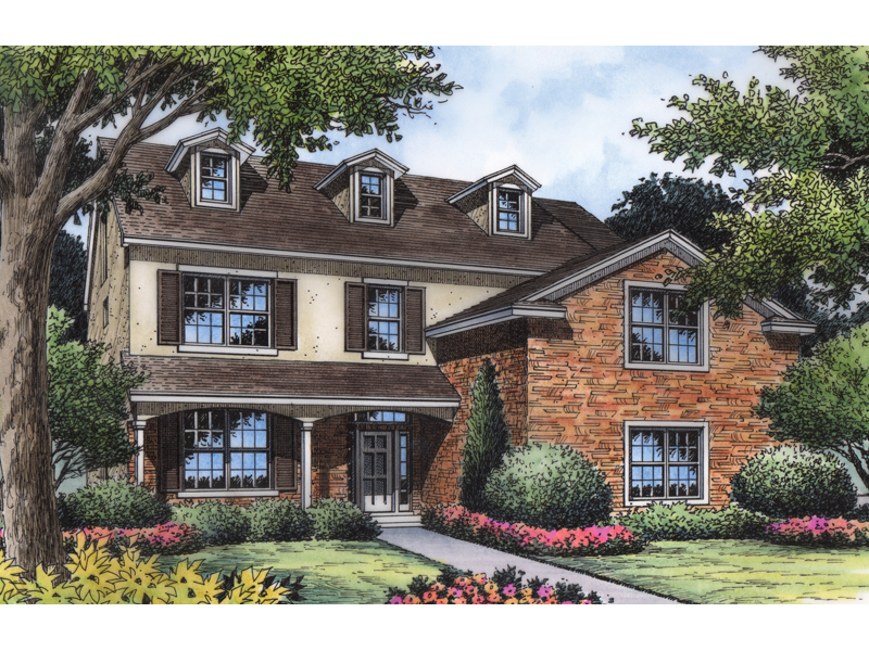 Traditional Country Two-Story With Stucco And Brick Exteriors