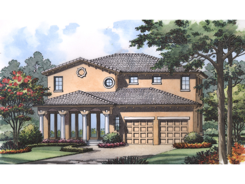 Southwestern House Plan Front of Home - 047D-0195 | House Plans and More