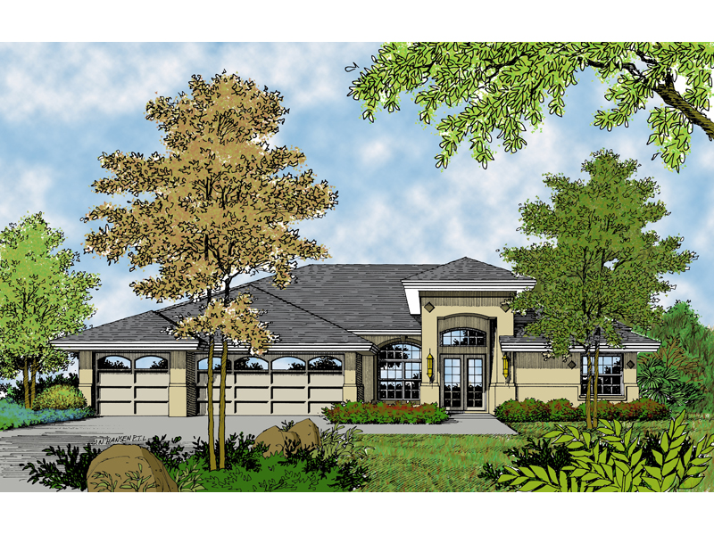 Ranch House Plan Front of Home 047D-0207