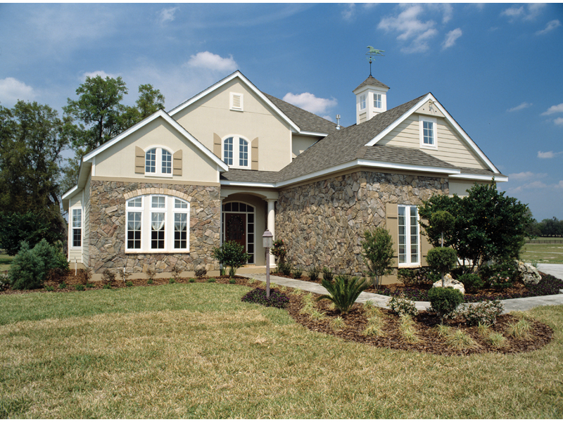 Stone Adds Tremendous Character To The Front Of This Country French Style