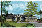 Floridian Style Stucco Ranch Home With Prominent Arched Entry