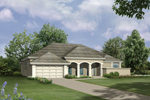 Stucco Ranch Home With Triple Arched Soffit Entry