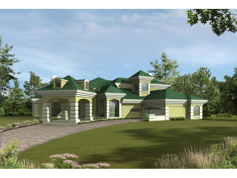 Southwestern House Plan Front of Home 048D-0007