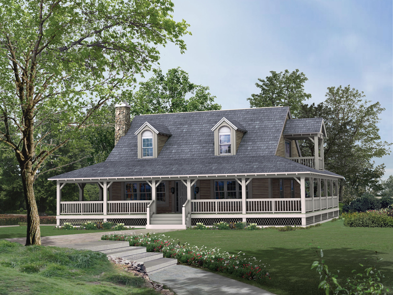 lowcountry home style with deep wrap around covered porch - Country Style House Plans