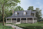 Lowcountry Home Style With Deep Wrap-Around Covered Porch