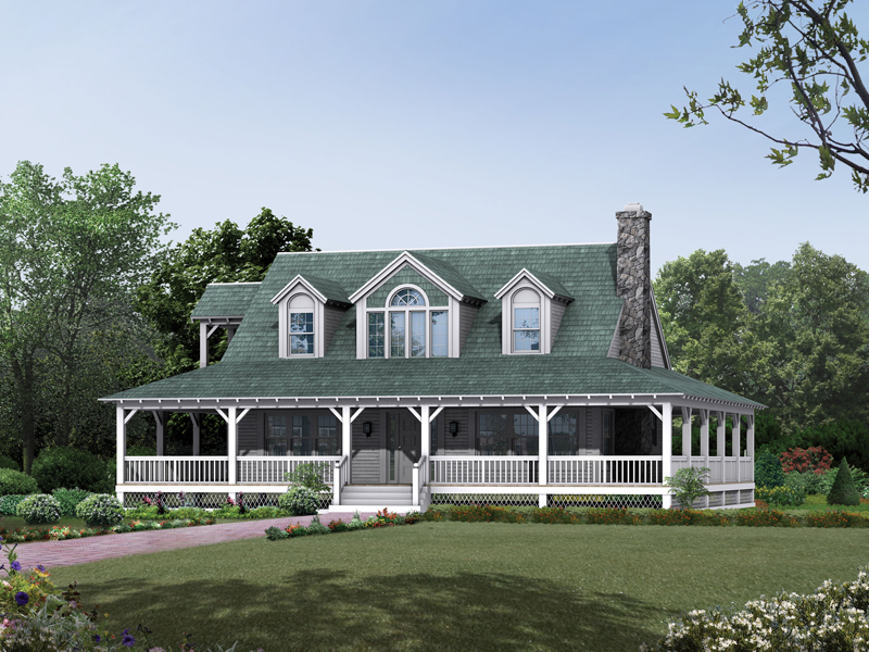 Cane hill country farmhouse plan 049d 0010 house plans for Country style house plans with wrap around porches