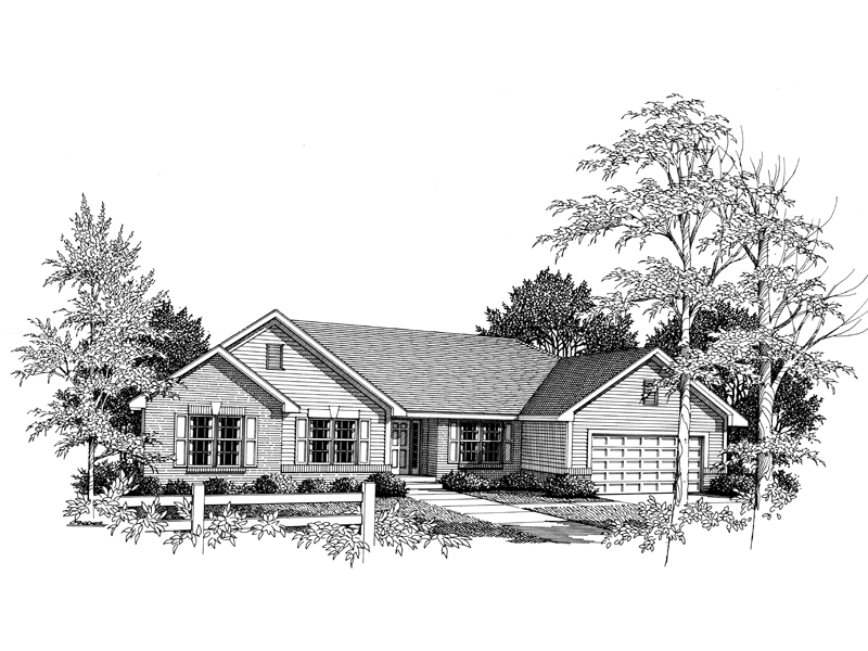 Traditional Ranch House With Siding And Brick Combination