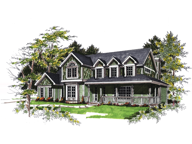 Shingle Sided Country Farmhouse Two-Story Home With Covered Porch
