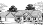 Angled Ranch Home With Mostly Brick Exterior