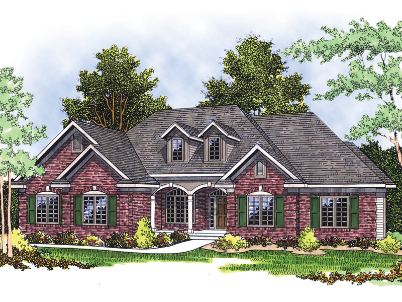 Traditional Brick Ranch Home With Twin Dormers And Covered Porch