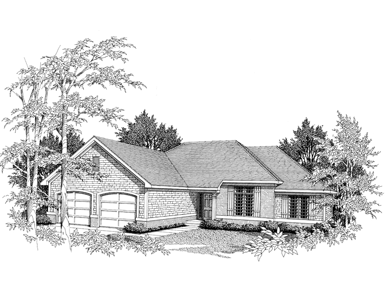 Ranch House Plan Front of Home - 051D-0068 | House Plans and More