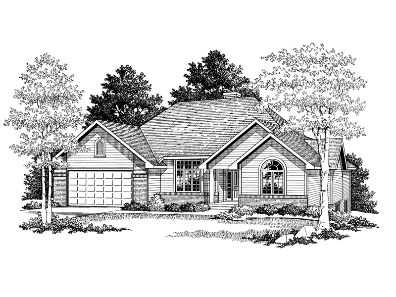 Traditional Ranch Style Home With Three Gables For Interest Across The Front