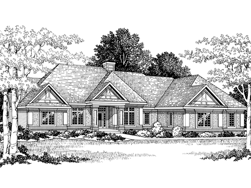 Kirklee tudor ranch home plan 051d 0096 house plans and more for Sprawling ranch floor plans