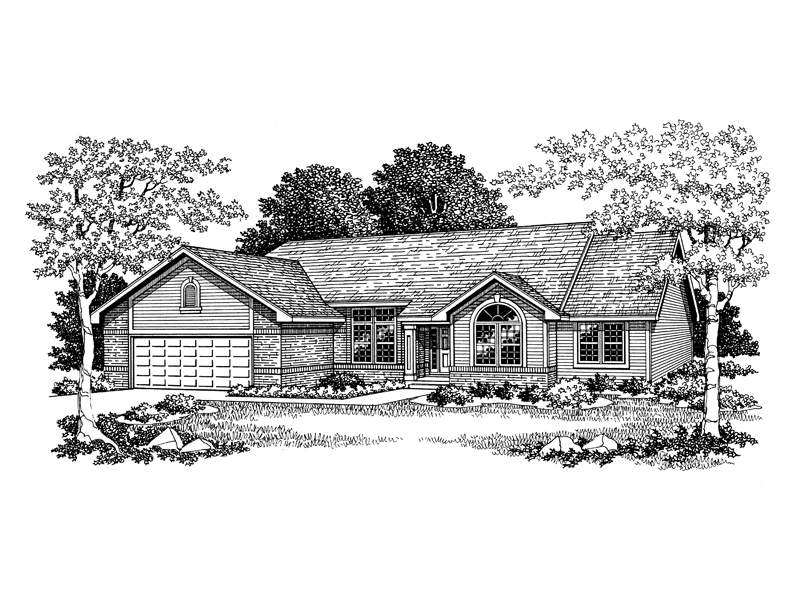 Ranch House Plan Front of Home - 051D-0103 | House Plans and More