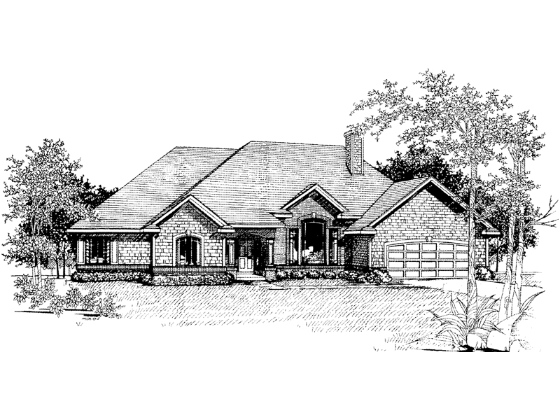 Shingle Sided Ranch Home With Arch-Top Windows