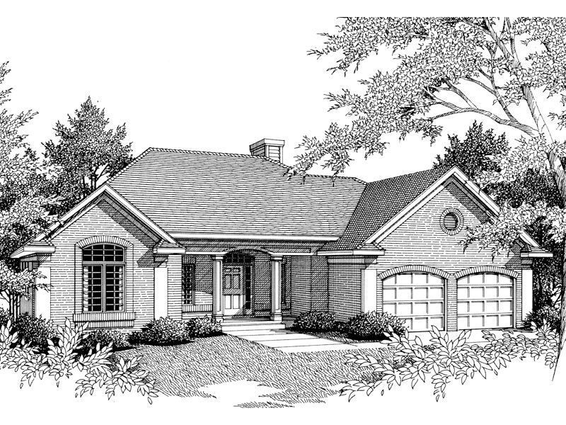 Lovely Traditional Ranch House With Arched Window, Soffit And Garage Doors