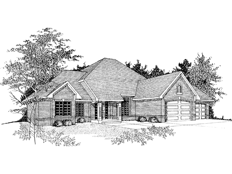 Brick Ranch Home With Attractive Roof Line