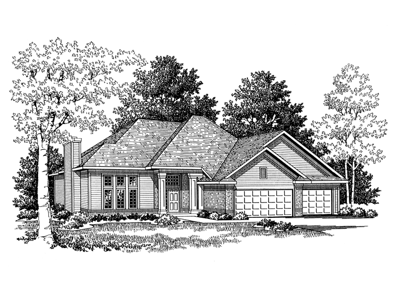 Ranch House Plan Front Image of House - 051D-0193 | House Plans and More