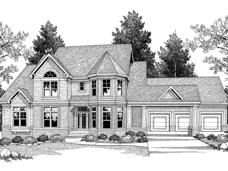 Traditional House Plan Front Image of House 051D-0258