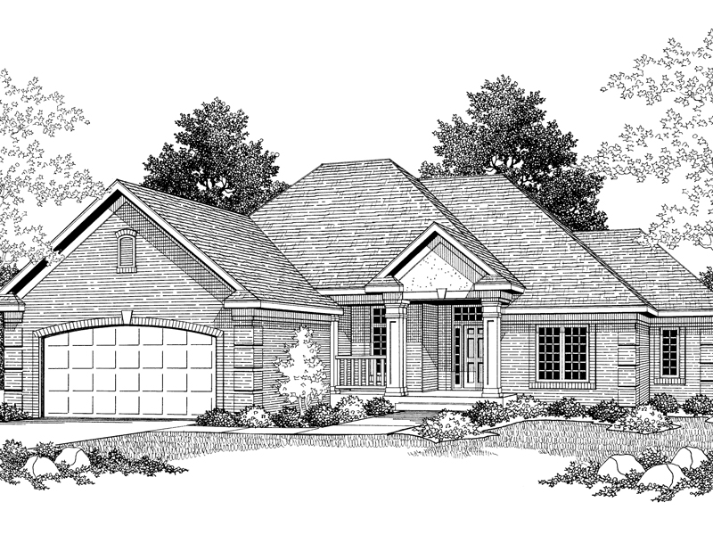 Traditional Brick Ranch Home With Stucco Front Porch Gable