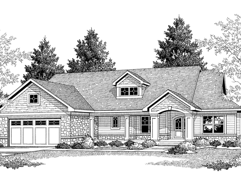Shingle House Plan Front of Home 051D-0261