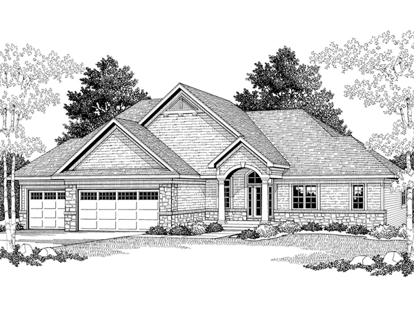 Norton ranch home plan 051d 0304 house plans and more for Exterior house drawing