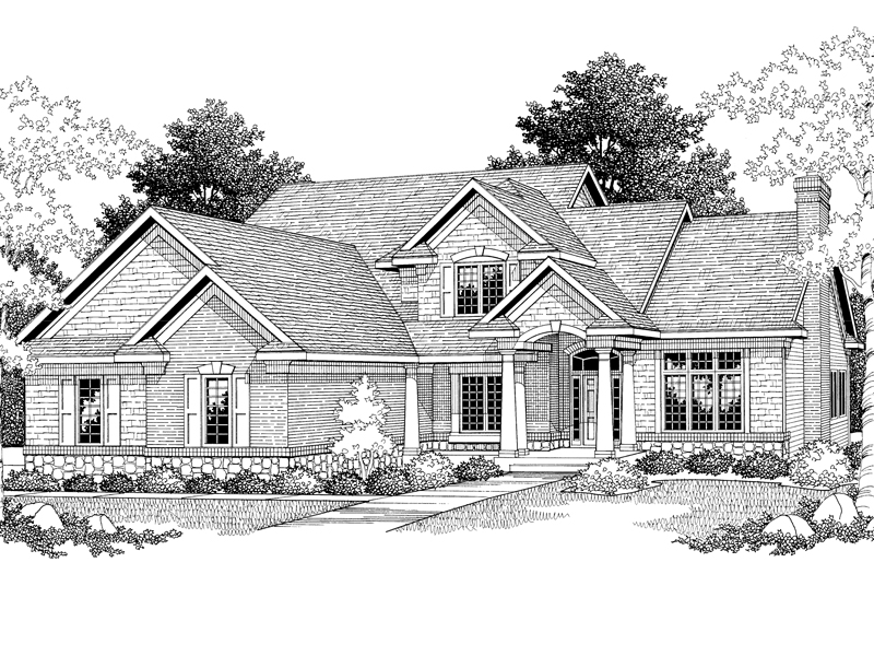 Traditional Two-Story Style House Has Great Shingle And Stone Accents