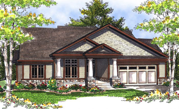 Wide Square Porch Pillars Give This Home A Craftsman Feel