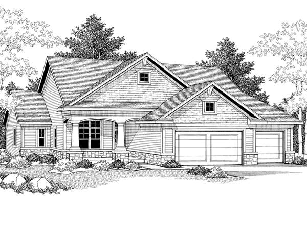 Arts and Crafts Ranch Home Plans