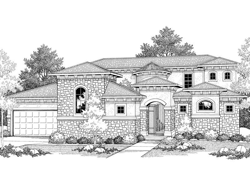 Santa Fe House Plan Front of Home 051D-0350