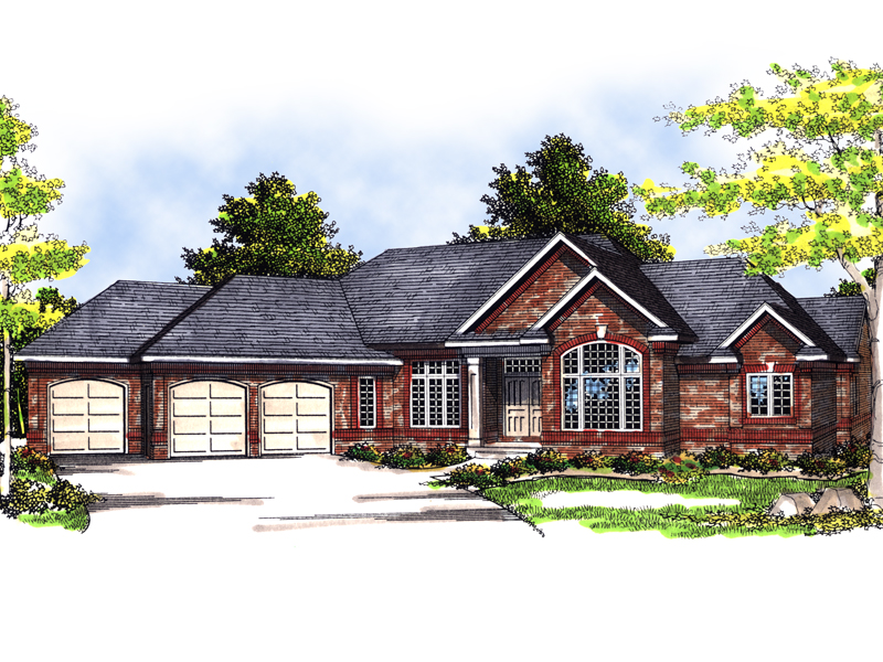 Ranch house plans with angled garage for Ranch style home plans with 3 car garage