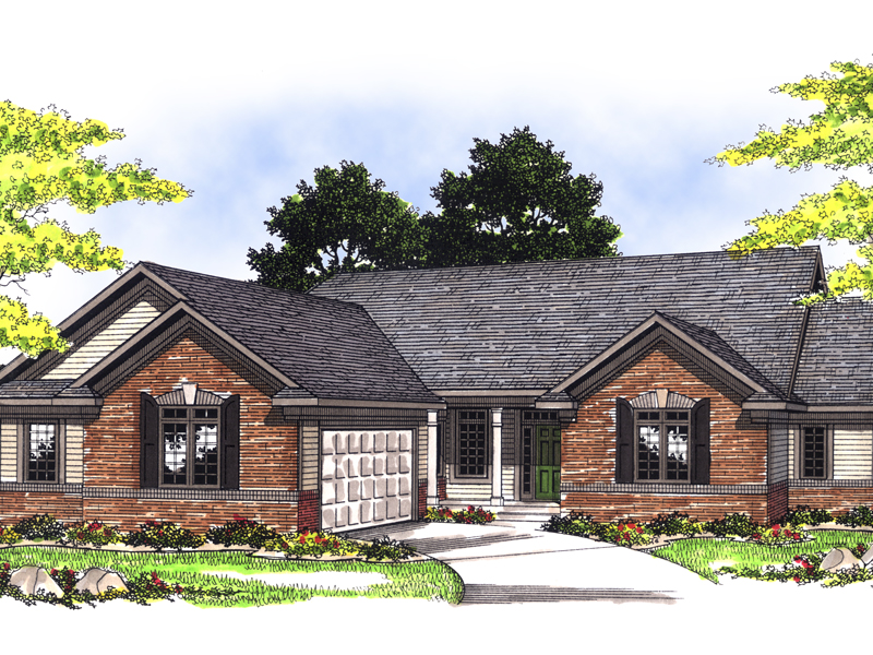 Traditional Ranch Home With Brick Exterior And Side Entry Garage