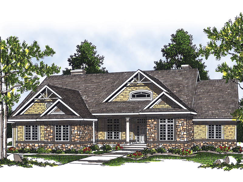 Craftsman Style Ranch Home Incorporates Stone And Shingle Siding