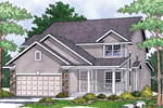 Country Style Home With Stone Details Around Garage