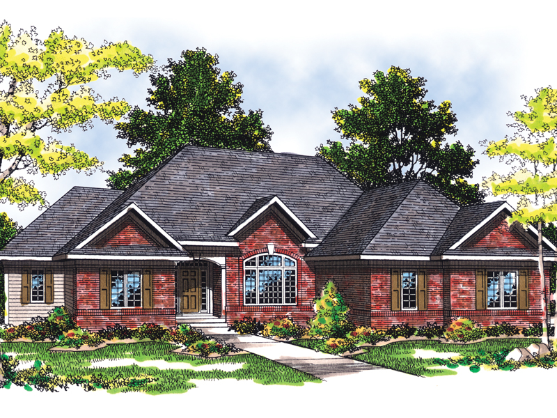 All Brick Traditional Home With One-Level Design