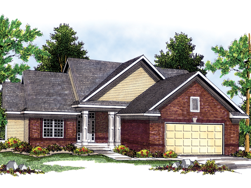 Ranch House Plan Front of Home 051D-0473