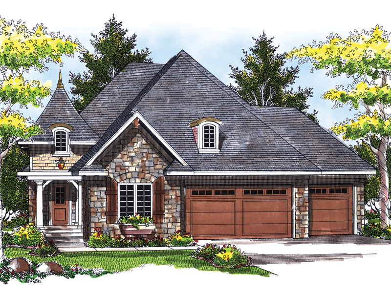 English Cottage House Plan Front of Home 051D-0516