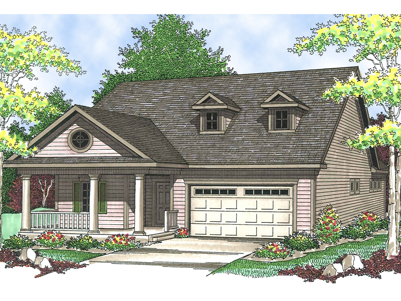 Ranch House Plan Front of Home 051D-0546